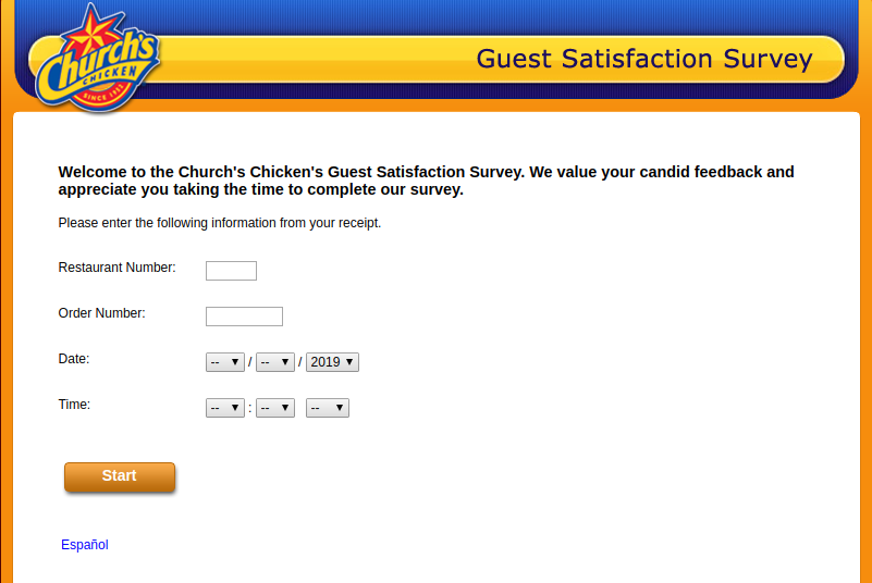 Church's Chicken Guest Satisfaction Survey