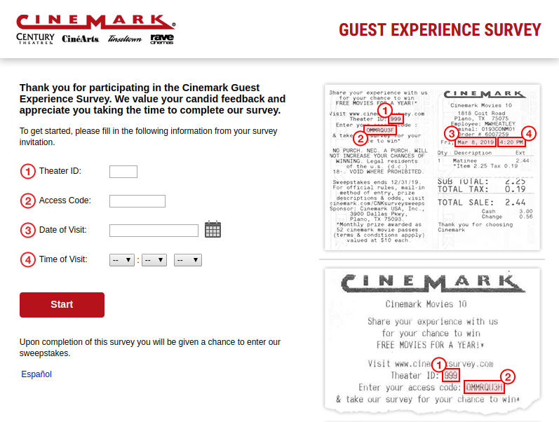 Cinemark Guest Experience Survey