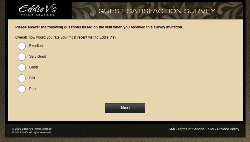 Eddie V s Prime Seafood Guest Survey