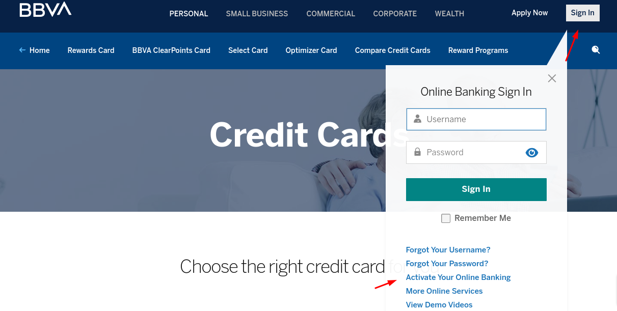BBVa Credit Card Activate Online Banking