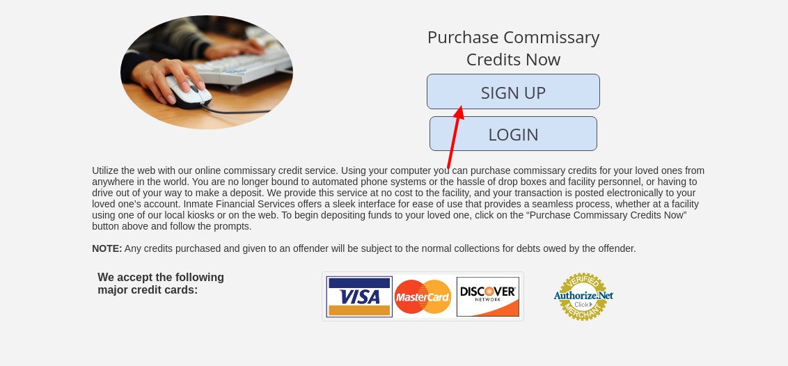 nmate Financial Commissary Sign Up