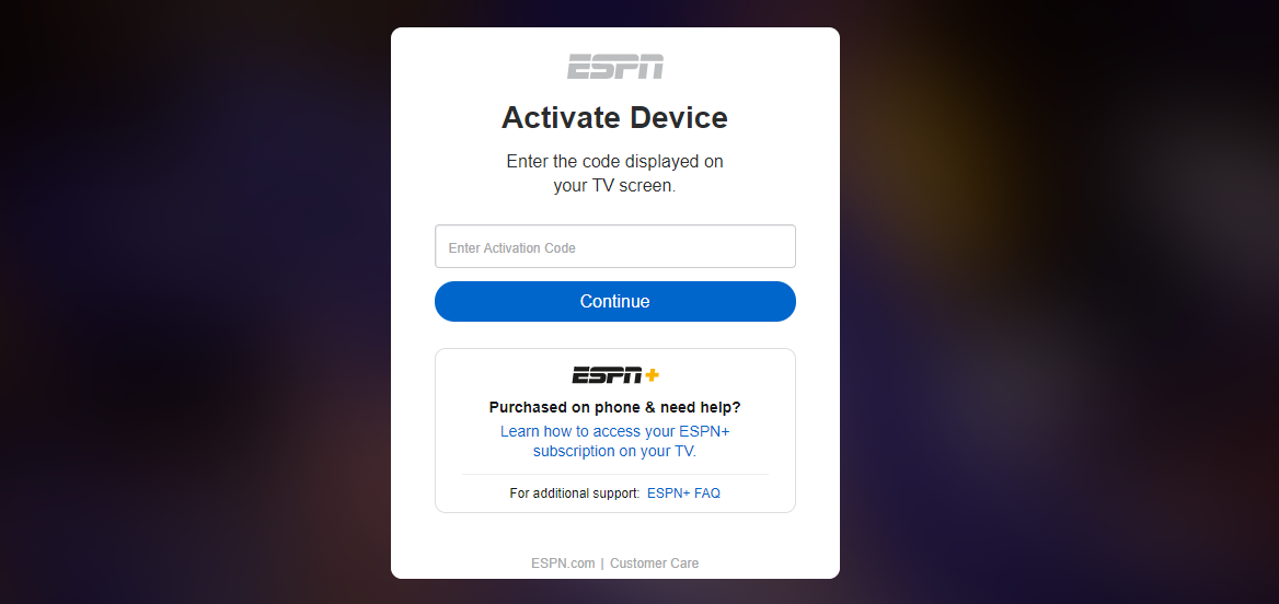Activate ESPN on Smart Device