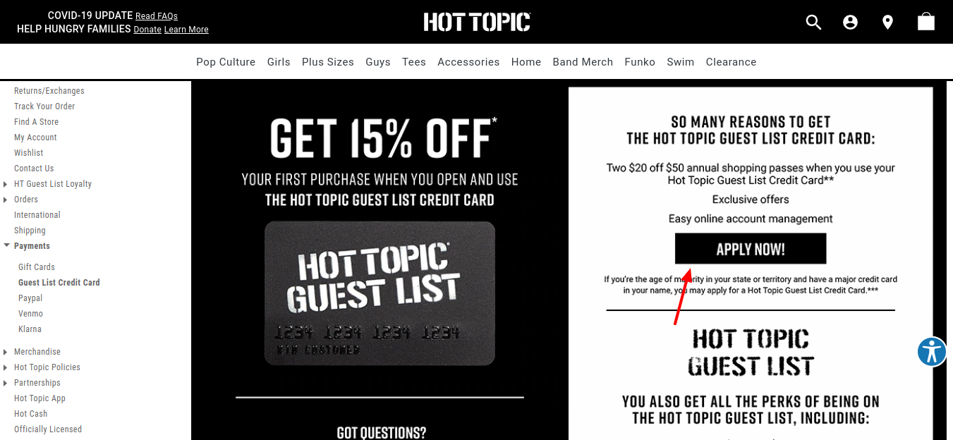 Hot Topic Credit Card Apply