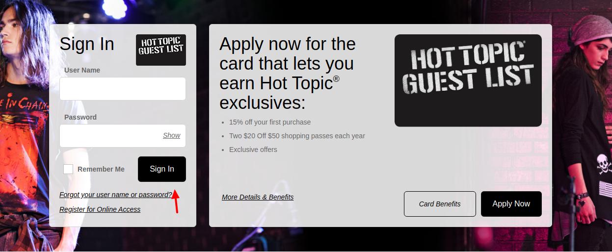 Hot Topic Credit Card Login