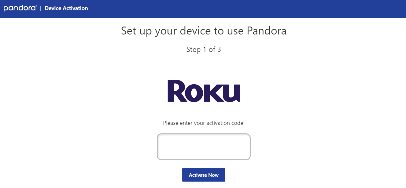 Pandora Radio Device Activation