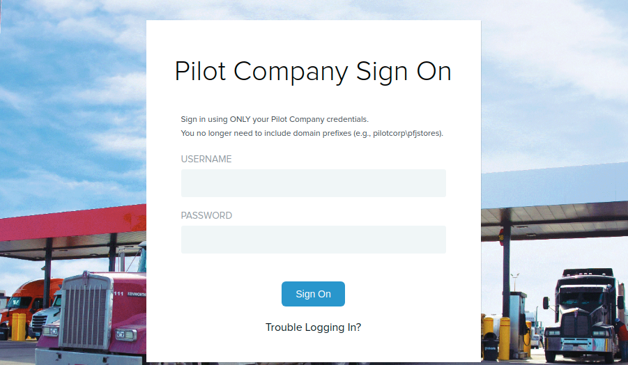 Pilot Company Sign In