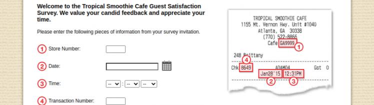 Tropical Smoothie Cafe Survey