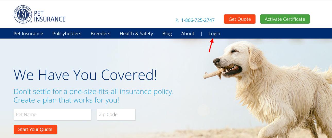 akc pet insurance login