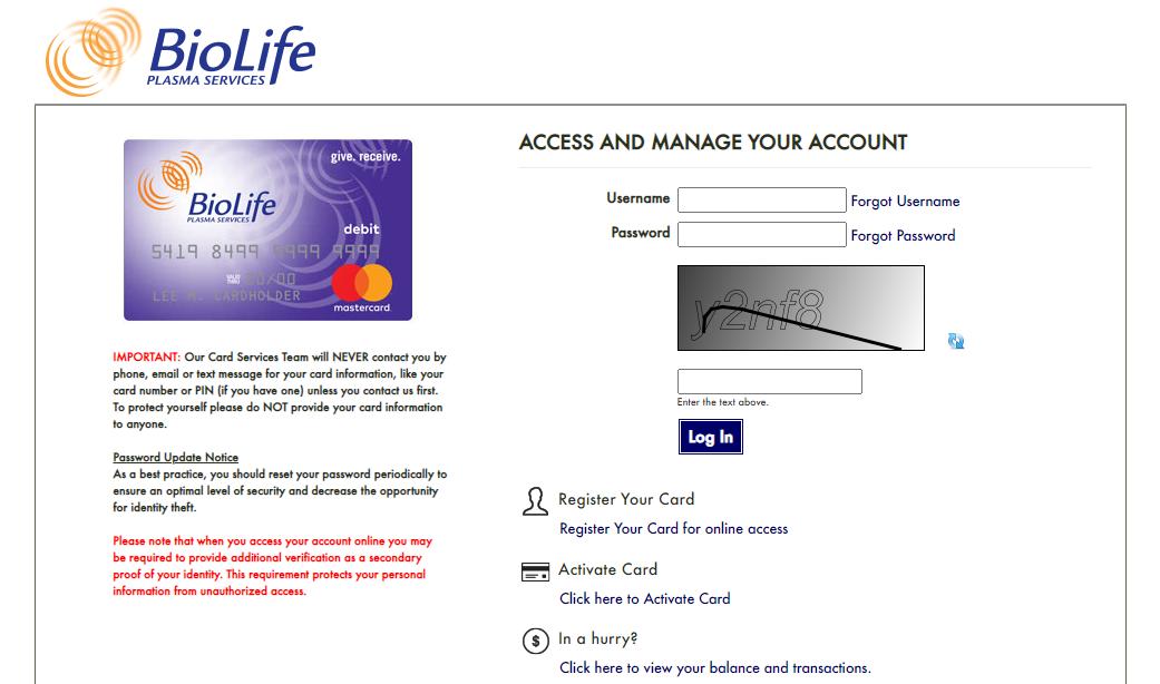 BioLife Citicard Prepaid Card Login