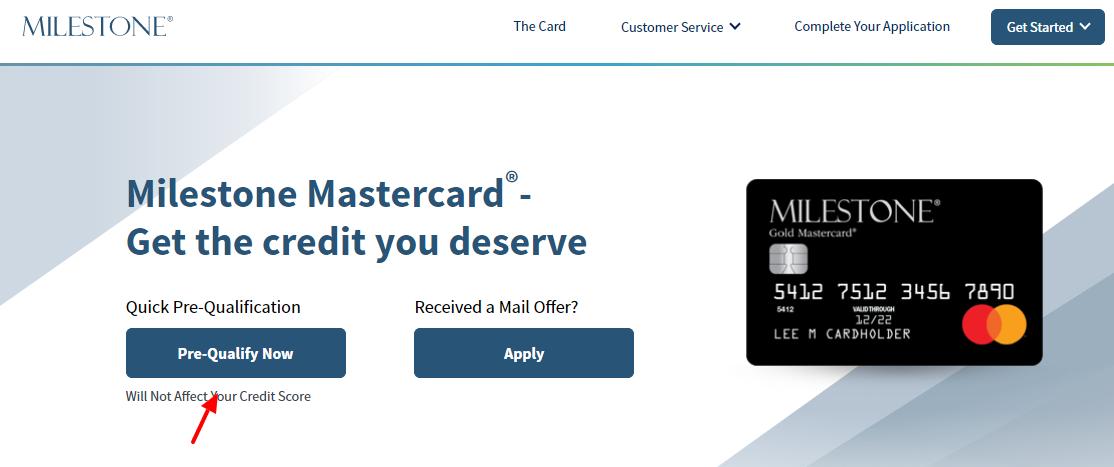 Milestone Card Pre Qulify