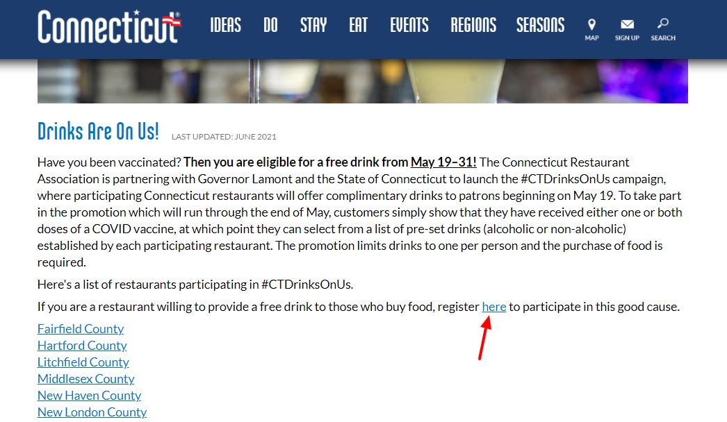 connecticut restaurants free drinks